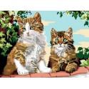 Котята на заборе Раскраска картина по номерам на холсте