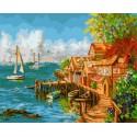 Рыбацкая деревенька Раскраска картина по номерам на холсте