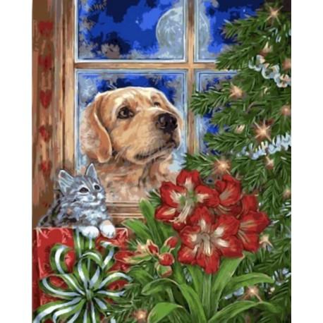 Раскраска по номерам Поджидаем Новый год картина 40х50 см ...