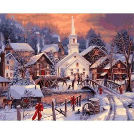 Рождество в деревне Раскраска картина по номерам акриловыми красками на холсте