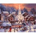 Рождество в деревне Раскраска картина по номерам на холсте