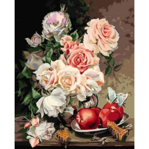 Розы с яблоками Раскраска картина по номерам на холсте