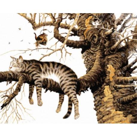 Кот спит на ветке Раскраска картина по номерам акриловыми красками на холсте