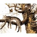 Кот спит на ветке Раскраска картина по номерам на холсте