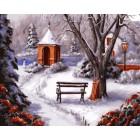 Зимняя сторожка Раскраска картина по номерам акриловыми красками на холсте