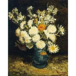 Цветы в голубой вазе (репродукция Ван Гога)  Раскраска картина по номерам на холсте Molly
