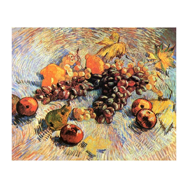 Раскраска по номерам Натюрморт с яблоками и виноградом ...