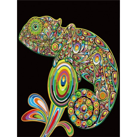Хамелеон Алмазная мозаика на подрамнике Цветной