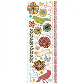 Птицы и цветы Натирка переводная для скрапбукинга, кардмейкинга K&Company