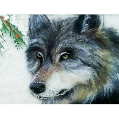 Волк Картина из шерсти с рамкой
