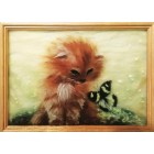 Котёнок и бабочка Картина из шерсти с рамкой