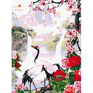 Журавли Раскраска картина по номерам на холсте Белоснежка