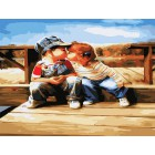 Поцелуй у реки Раскраска картина по номерам на холсте Белоснежка