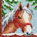 Белогривая лошадка Алмазная вышивка мозаика на подрамнике Белоснежка