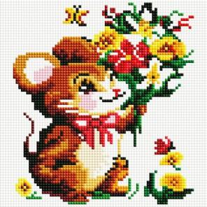 Мышонок с букетом Алмазная вышивка мозаика на подрамнике Белоснежка