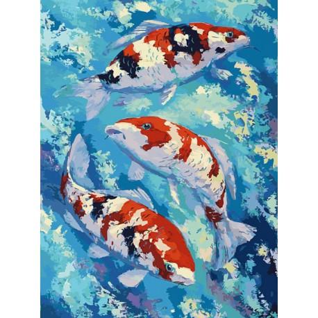 Карпы Кои Раскраска картина по номерам на холсте Белоснежка