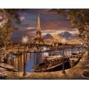 Париж. Вечер Раскраска картина по номерам на холсте