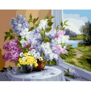 Букет у окна Раскраска картина по номерам на холсте