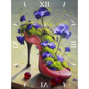 Цветочная туфелька Часы Алмазные на подрамнике с частичной выкладкой Color Kit