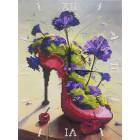 Фотография готовой работы Цветочная туфелька Часы Алмазные на подрамнике с частичной выкладкой Color Kit