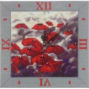 Фотография готовой работы Капризные зонты Часы Алмазные на подрамнике с полной выкладкой Color Kit