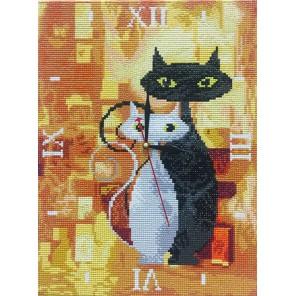 Фотография готовой работы Влюбленные Часы Алмазные на подрамнике с полной выкладкой Color Kit