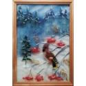 Снегирь Картина из шерсти с рамкой