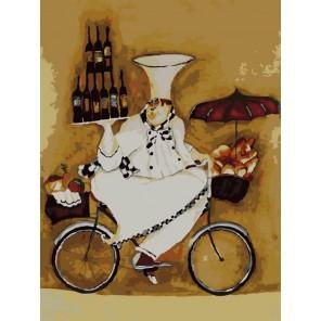 Повар на велосипеде Раскраска по номерам на холсте Menglei