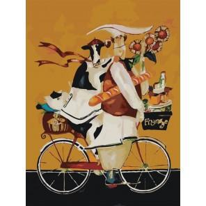 Повар и корова на велосипеде Раскраска по номерам на холсте Menglei