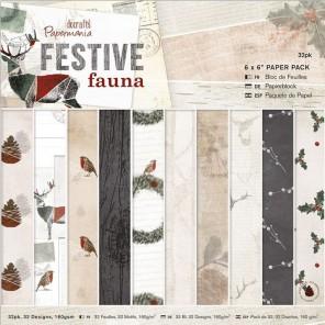 Festive Fauna Набор односторонней бумаги 15х15 см для скрапбукинга, кардмейкинга Docrafts