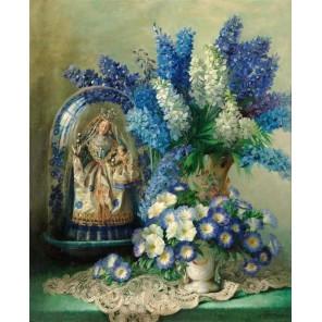 Схема вышивки Натюрморт в бело-голубых тонах Набор для частичной вышивки бисером Color Kit