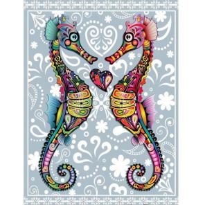 Выкладка алмазинками Морские коньки Алмазная мозаика (вышивка) Гранни