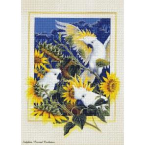 Попугаи в подсолнухах Алмазная мозаика на подрамнике Цветной