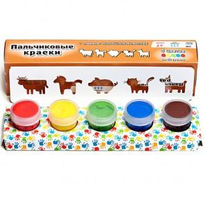 Домашние животные Пальчиковые краски с трафаретом Molly