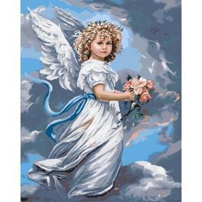 GX3232 Ангел с цветами (художник Сандра Кук) Раскраска картина по номерам акриловыми красками на холсте