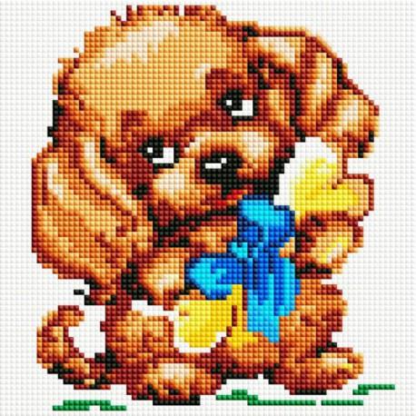 Собачка с подарком Алмазная вышивка мозаика на подрамнике Белоснежка