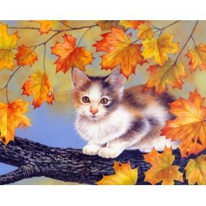 Схема вышивки Котёнок на дереве Набор для частичной вышивки бисером Color Kit