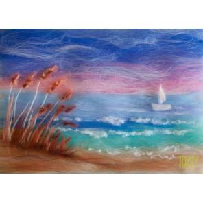 Морской берег Картина из шерсти Toyzy