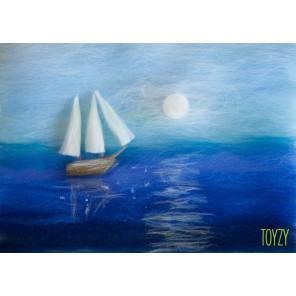 Корабль в море Картина из шерсти Toyzy
