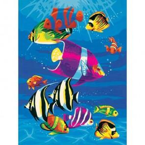 Тропические рыбки Раскраска картина по номерам на холсте