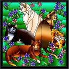 Кошки в незабудках Набор с рамкой для создания картины-витража Color Kit