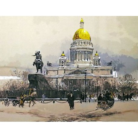 Раскраска по номерам Заснеженный Петербург картина 40х50 ...