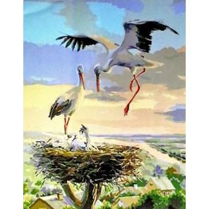 Гнездо аистов Раскраска картина по номерам на холсте