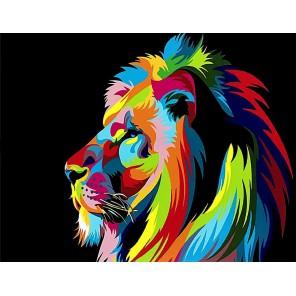 Радужный лев в профиль (Ваю Ромдони) Раскраска картина по номерам на холсте