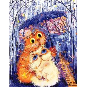 Втроем под зонтиком Раскраска картина по номерам на холсте