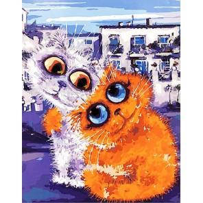 Городские коты Раскраска картина по номерам на холсте