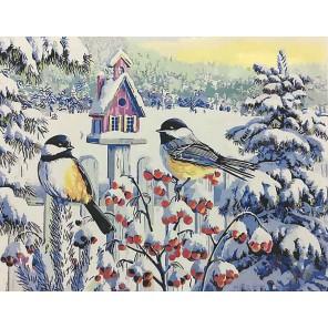 Синицы на рябине (художник Ким Корлиен) Раскраска картина по номерам на холсте