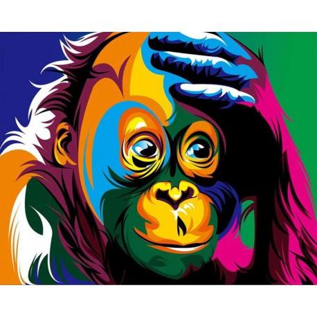 Радужная шимпанзе Раскраска картина по номерам на холсте