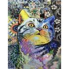 Цветная кошка Раскраска картина по номерам на холсте