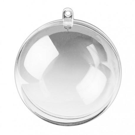 Шар 8см прозрачный Фигурка разъемная из пластика для декорирования